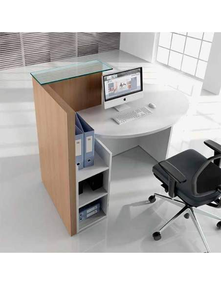 Mostrador de recepción compacto, modelo Ovo. Con repisa de cristal, mesa, y puesto de trabajo.