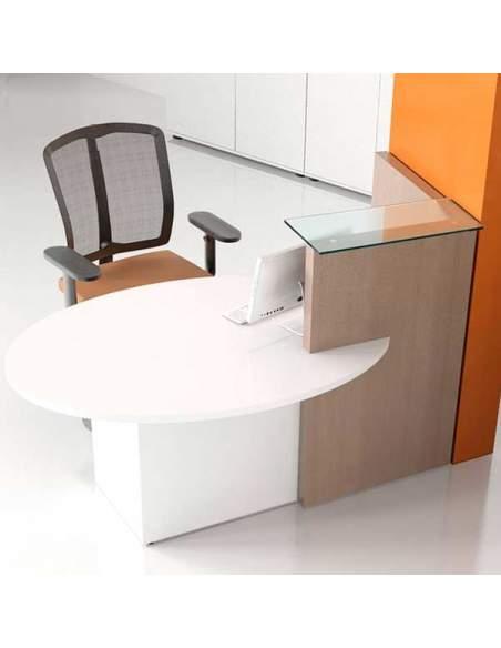 Mesa mostrador modelo Ovo. Con mesa adaptada para atención al cliente. Repisa de cristal. Armario incorporado.
