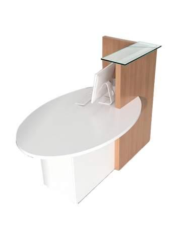 Mostrador compacto Ovo. Con mesa de atención al cliente y armario integrado.