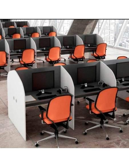 Mesas call center, instalaciones con módulos dobles, puestos enfrentados