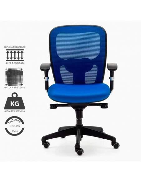 Silla de trabajo ergonómica azul, modelo Boston. Con malla reforzada y asiento de espuma de alta resistencia.