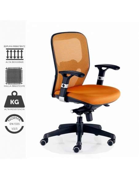 Silla de trabajo ergonómica, modelo Boston. Con brazos regulables y soporte lumbar regulables.Tapizada en naranja.