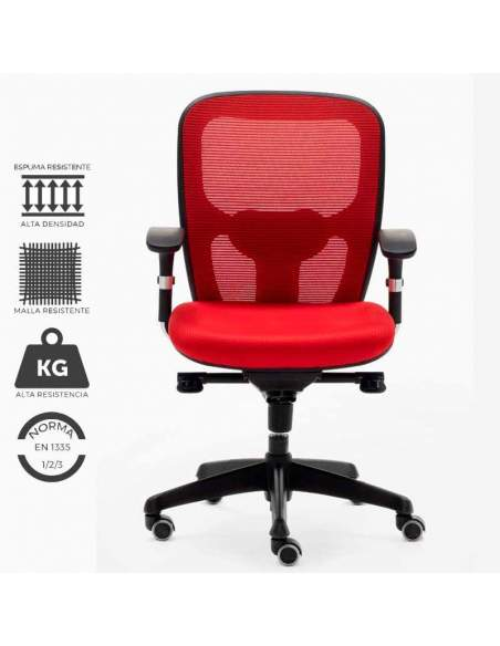 Silla trabajo ergonómica modelo Boston, en color rojo