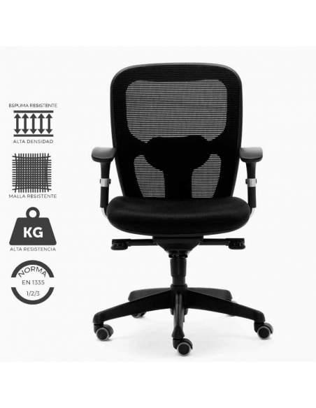 Silla de trabajo ergonómica modelo Boston. Con malla ultra resistente, y asiento rellenado en con espuma de alta densidad.