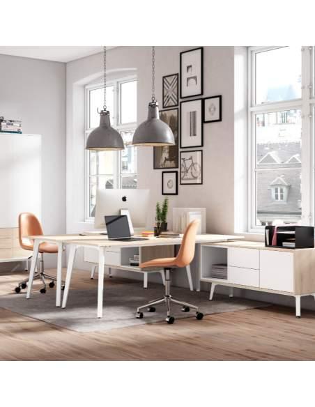 Mesa Organova con mueble auxiliar con módulo hueco, módulo 2 cajones y módulo archivador