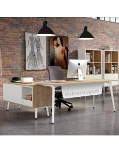 Mesa despacho Organova de Iman con faldón metálico blanco y mueble auxiliar con módulo hueco y 2 módulos cajón