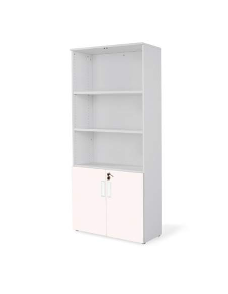 armario oficina de madera alto con puertas bajas combinado en gris rosa
