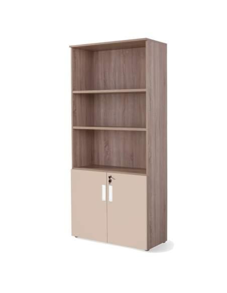 armario oficina alto con puertas bajas combinado olmo arcilla