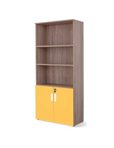 Armario oficina alto con puertas bajas combinado olmo mostaza