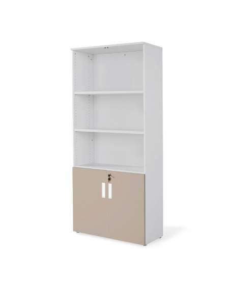 armario oficina de madera alto con puertas bajas combinado en gris arcilla