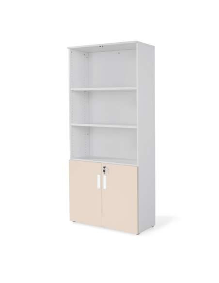 armario oficina de madera alto con puertas bajas combinado en gris beige