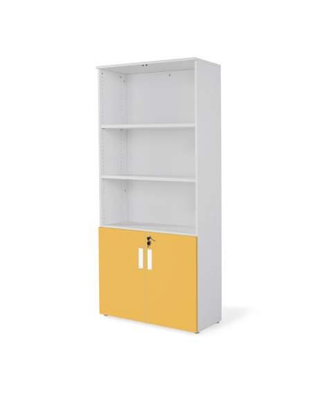 armario oficina de madera alto con puertas bajas combinado en gris mostaza