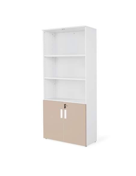 armario oficina de madera con puertas bajas combinado en blanco arcilla