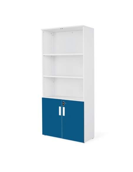 armario oficina de madera con puertas bajas combinado en blanco azul