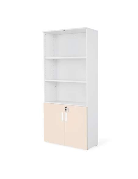 armario oficina de madera con puertas bajas combinado en blanco beige