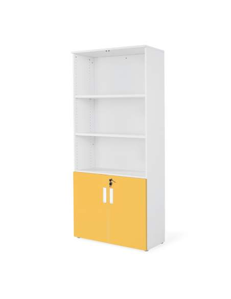 armario oficina de madera con puertas bajas combinado en blanco mostaza