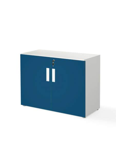 armario oficina bajo con puertas color azul