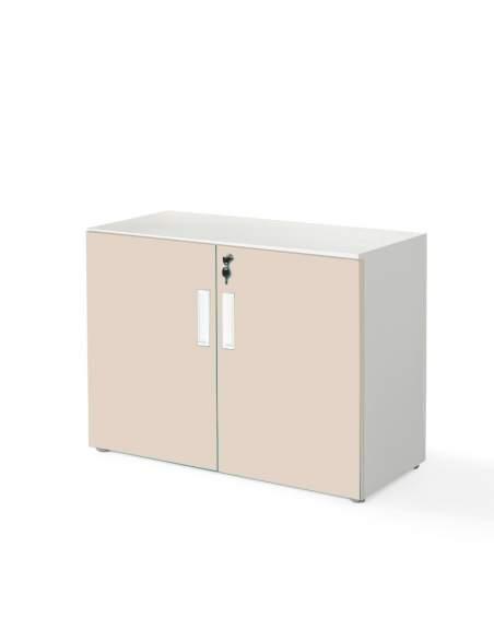 armario oficina bajo con puertas color beige