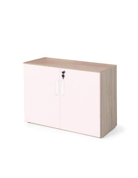 armario oficina bajo con puertas olmo y rosa