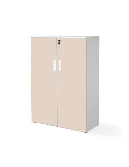 armario oficina  mediano con puertas con cuerpo en blanco y puertas beige
