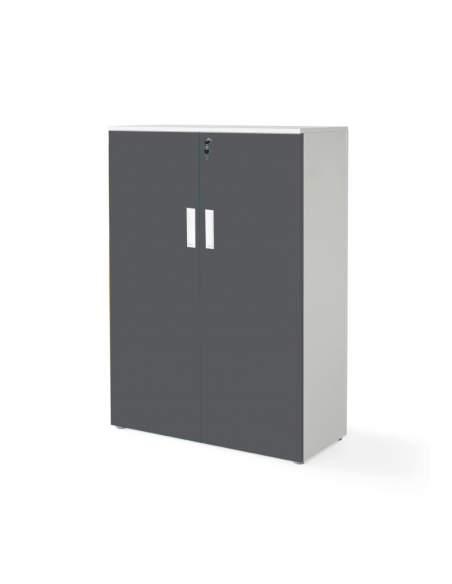 armario oficina mediano con puertas con cuerpo en blanco y puertas grafito