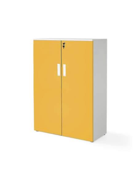 armario oficina mediano con puertas con cuerpo en blanco y puertas mostaza
