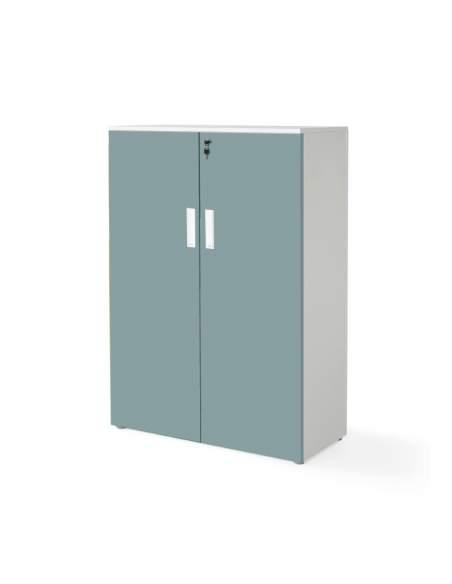 armario oficina mediano con puertas con cuerpo en blanco y puertas verdes