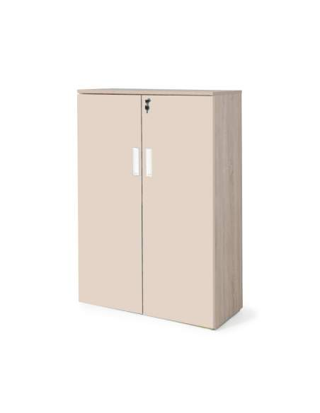 armario oficina madera con puertas con cuerpo en olmo y puertas beige