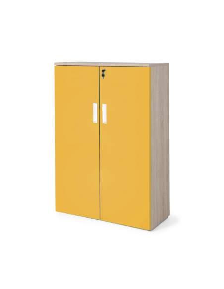 armario oficina madera con puertas con cuerpo en olmo y puertas mostaza