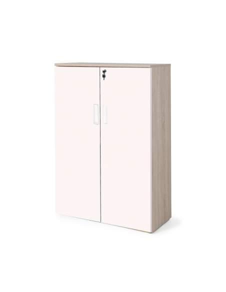 armario oficina madera con puertas con cuerpo en olmo y puertas rosa