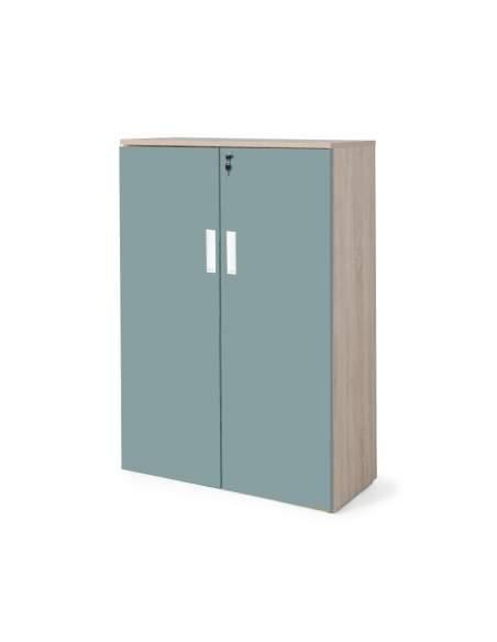 armario oficina madera con puertas con cuerpo en olmo y puertas verdes