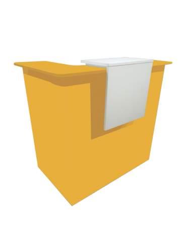 mostrador recepcion de colores personalizado en mostaza