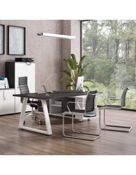 Mesa oficina elegante de diseño piramid con mueble auxiliar