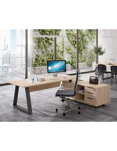 Mesa despacho dirección Piramid con mueble auxiliar