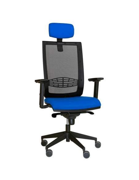 silla de escritorio modelo Kind malla con cabezal ergonómico.