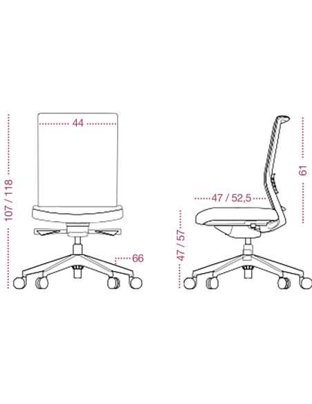 Medidas silla oficina Kind de Tecno-ofiss