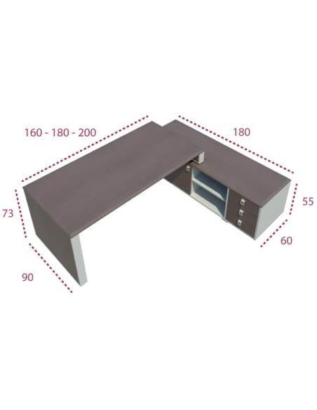 Medidas mesa dirección líder con mueble auxiliar de jgorbe
