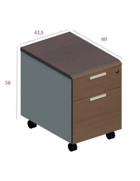 Medidas cajonera 1 cajón con cerradura y archivador series Benelux Líder
