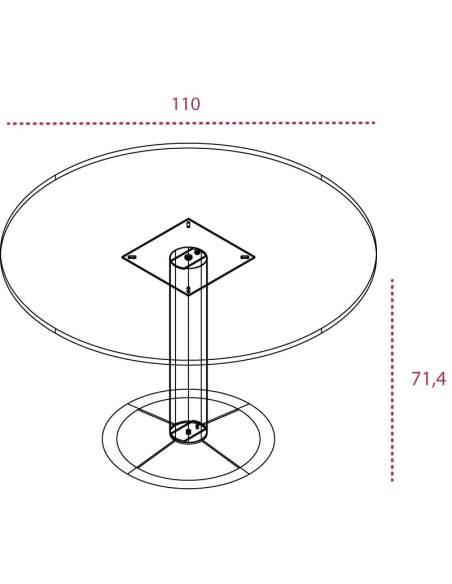 Medidas mesa reunión redonda serie Omega de Jgorbe