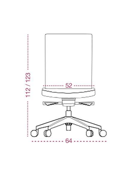 Medidas sillon despacho Astor de tecno-ofiss vista frontal