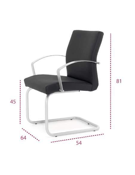Medidas silla confidente astor con base patín de tecno-ofiss