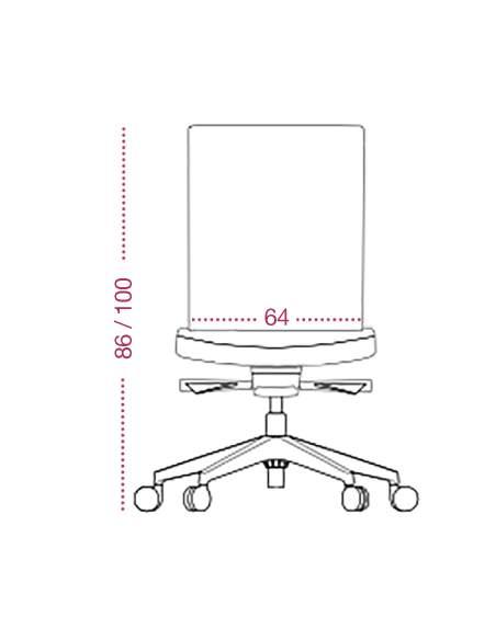 Medidas silla confidente astor con base con ruedas de tecno-ofiss