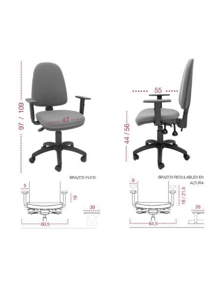Medidas silla oficina y estudio ocp de tecno-ofiss