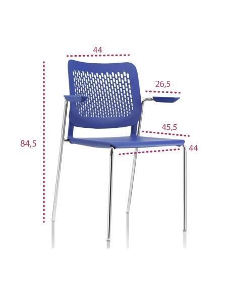 Medidas silla oficina Kali con brazos cortos de Tecno-ofiss