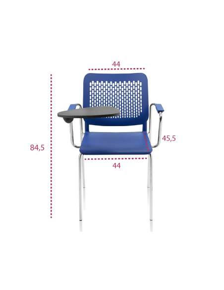 Medidas silla para estudio con pala Kali de tecno-ofiss