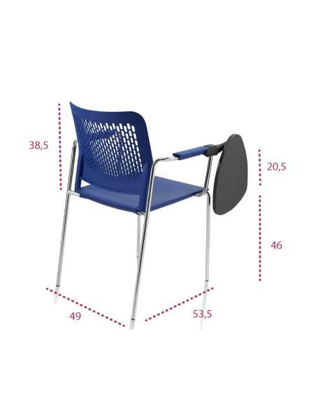 Medidas sillas de estudio con pala Kali de tecno-ofiss