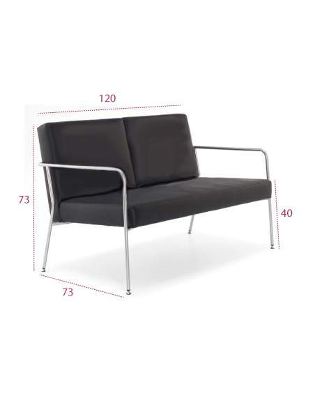Medidas sofá 2 plazas steel para sala de espera