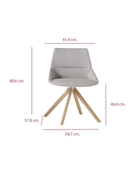 Medidas silla diseño moderno dunas xs madera de inclass