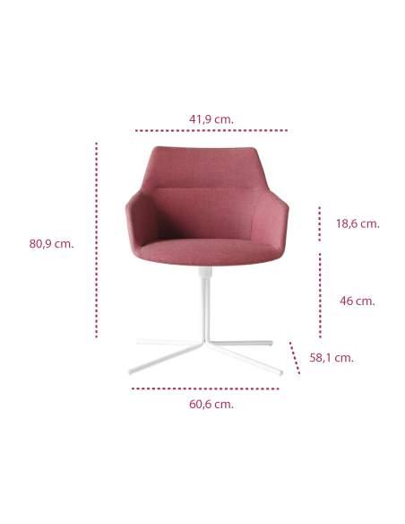 Medidas sillón oficina con brazos modelo dunas xs de inclass