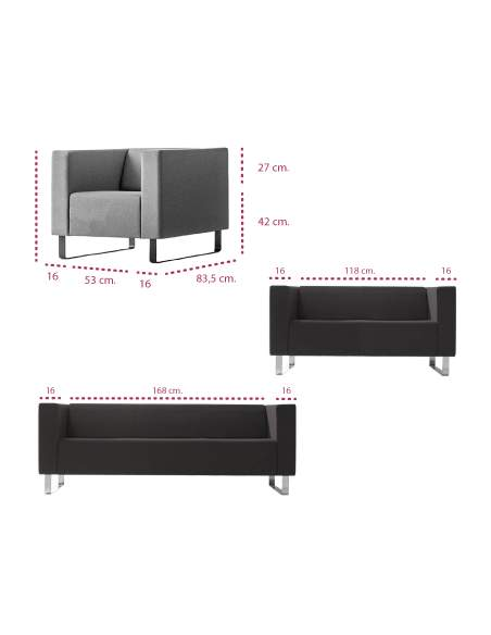 Medidas sofa moderno avalon de inclass